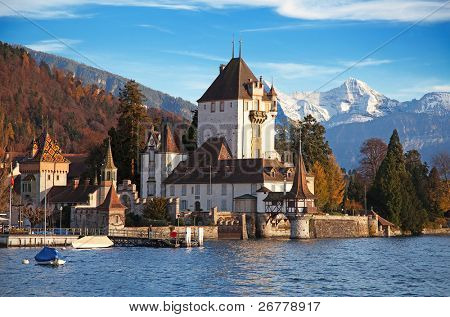 Oberhofen castle on sunset (Jungfrau region, canton Bern, Switzerland)