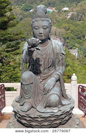 Bodhisattva sculpture near