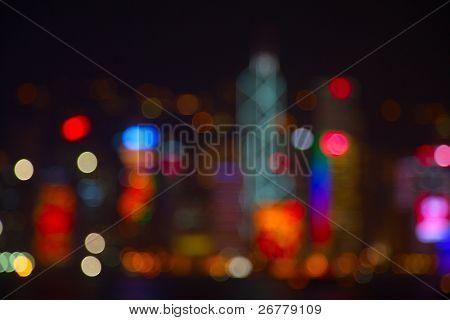 Night lights of the Hong Kong city