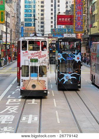 HONG KONG - DECEMBER 05: Unidentified people using city tram in Hong Kong on December 05, 2010. Hong Kong tram is the only in the world run with double deckers and one of the main tourist attractions.