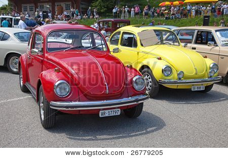 """SCHWAEGALP - JUNE 27: Classical VW Beetle car on the 7th """"Oldtimer meeting"""" in Schwaegalp, Switzerland on June 27, 2010. Over 21 millions of Volkswagen Type I manufactured between 1939 and 2003."""