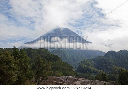 Merapi volcano on Java island before eruption (August 2010)