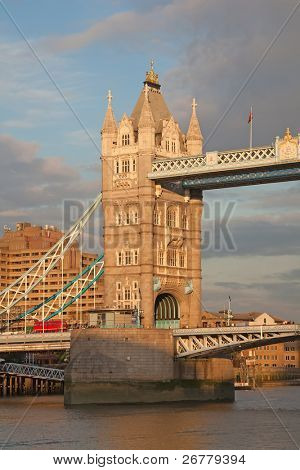 Tower Bridge over River Thames, London England at dusk