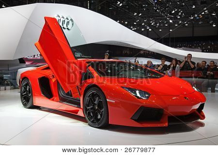 GENEVA - MARCH 8: The new Lamborgini Aventador on display at the 81st International Motor Show Palexpo-Geneva on March 8; 2011  in Geneva, Switzerland.