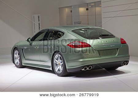 GENEVA - MARCH 8: The Porsche Panamera (Type number 970) with hybrid engine on display at the 81st International Motor Show Palexpo-Geneva on March 8, 2011  in Geneva, Switzerland.