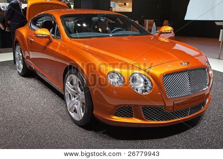 GENEVA - MARCH 8: The New Bentley Continental GT on display at the 81st International Motor Show Palexpo-Geneva on March 8; 2011  in Geneva, Switzerland.
