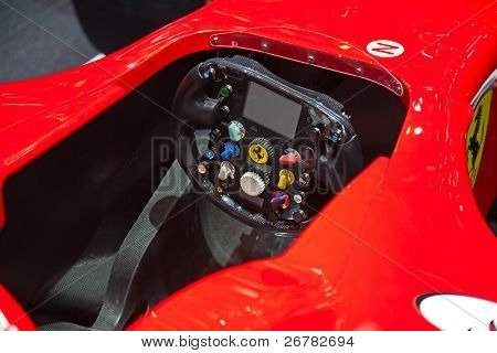 GENEVA - MARCH 8: Cockpit of the Ferrari F1 2010 bolide on display at the 81st International Motor Show Palexpo-Geneva on March 8; 2011  in Geneva, Switzerland.