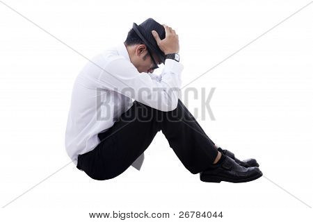 Unhappy Asian Businessman With Fedora