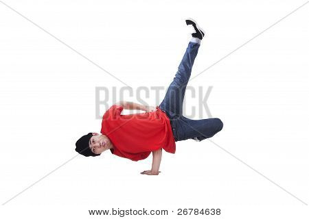 Asia Breakdancing Isolated On White