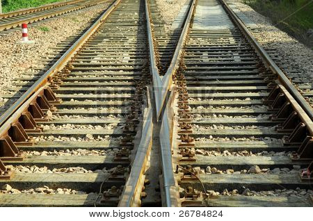Rail Road Tracks - electrical. Looking down the train tracks