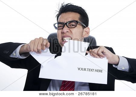 Angry Businessman With Copy Space