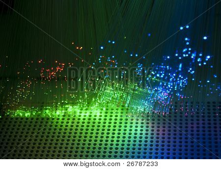 technology background, Bunch of green red fibre optics