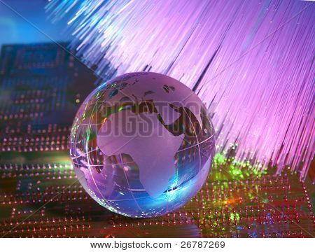 computer data concept with earth globe against fiber optic