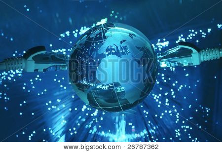estilo de tecnologia do mapa do mundo contexto fibra óptica