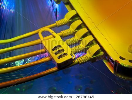 Lock and network cable with fiber optical background