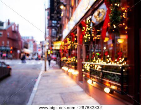 City Street With Christmas Illuminations