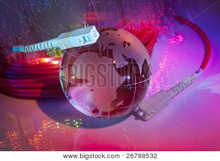 globe with network on technology fiber optics background