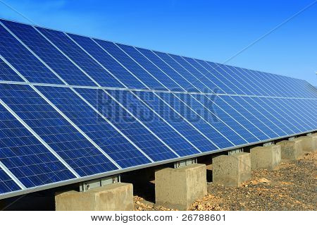 solar panel with desert house