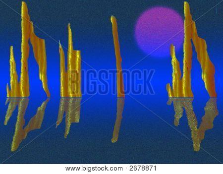 Future Ruins In Dark Blue Tones