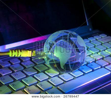 technologie earth globe tegen fiber optic achtergrond