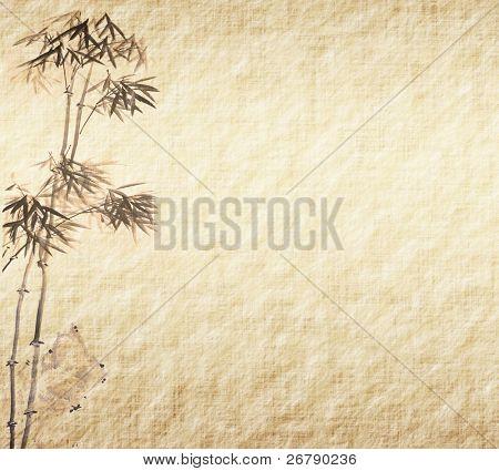 Grunge background.old Papier mit Bambus-Niederlassungen