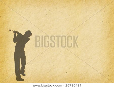 silhouette of a golfer on a bright sky on abstract painted background