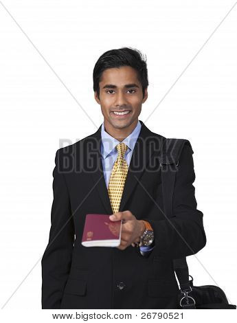 Smiling Traveler Shows Passport