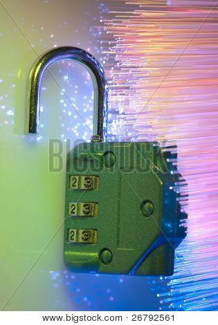 code lock against fiber optic background