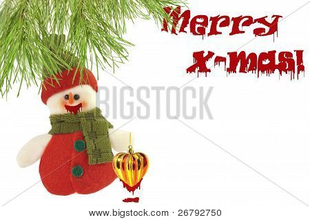 Cute Snowman Under A Pine Tree And A Merry Christmas Sign, Written With Blood