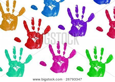 close up colorful Kind Handprints auf weiß
