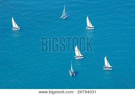 elevated view of sailing boats on sea