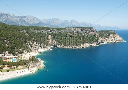 elevated view of  Mediterranean coast from Antalya, Turkey