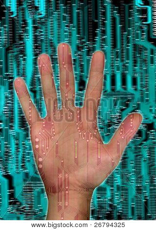 a single hand ove circuit board background
