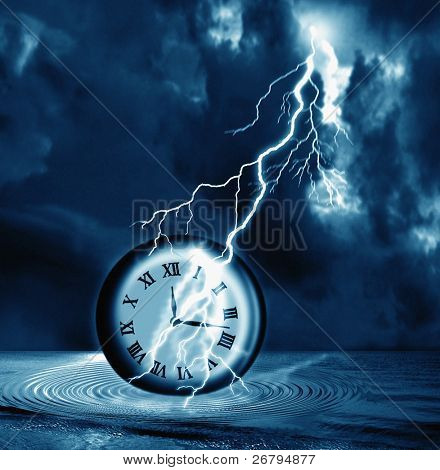 Digitally Generated Image of a clock and lightning