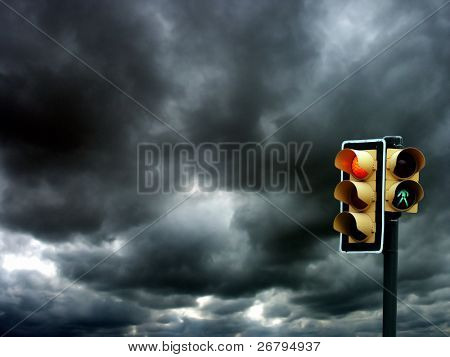 an image of Traffic lights on cloudy background