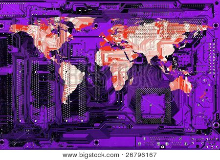 flat world map on purple computer circuitboard