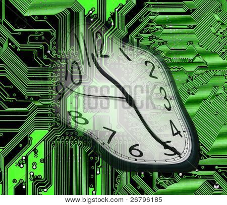 an image of melted clock on green computer circuitboard