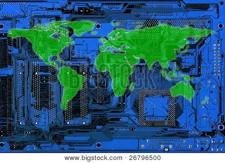 flat world map on blue computer circuitboard