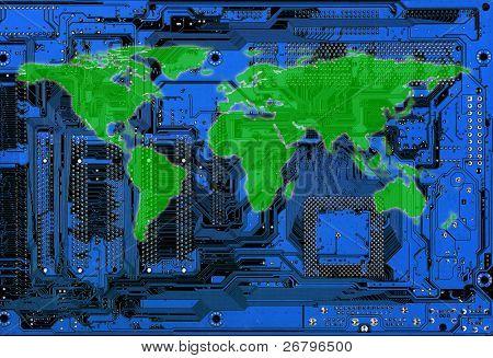 flat world map on blue computer circuitboard