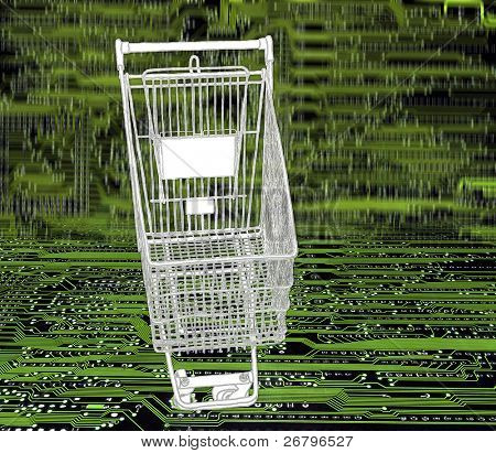 conceptual image of a shopping cart on circuitboard background