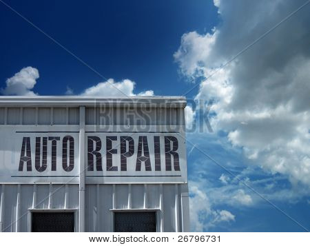 an image of auto repair shop with sky