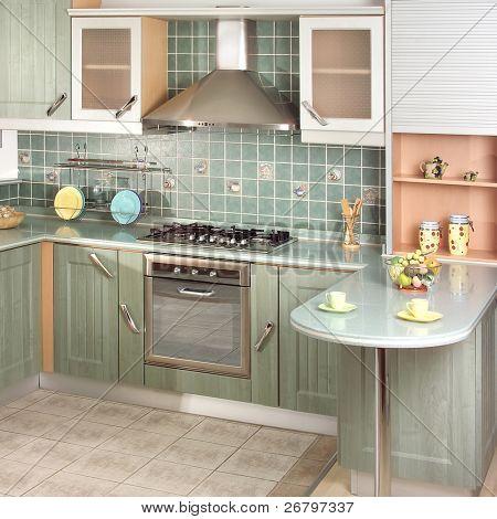 close up shot of a green modern kitchen