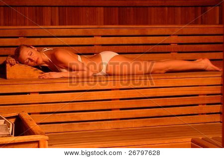 an image of a woman in sauna