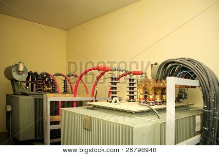 close up shot of transformer and cables