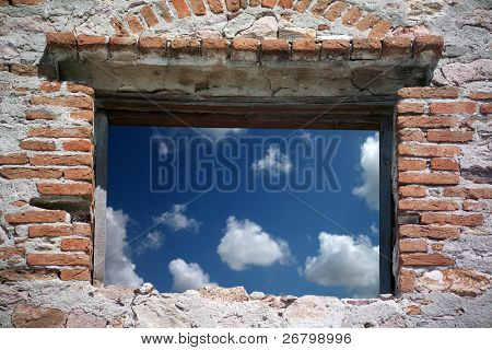close up shot of open window and sky
