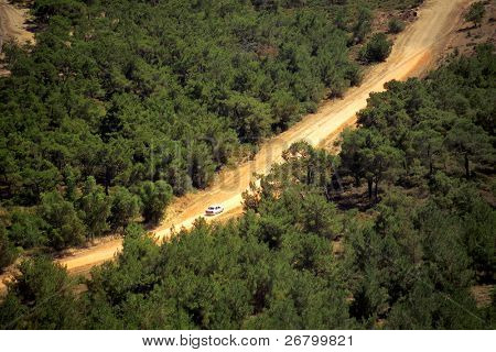 an elevated view of dirt road in forest
