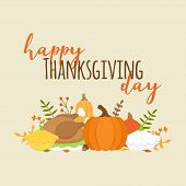 Happy Thanksgiving Day Autumn Vector Graphic Illustration With Writing. Editable Card For Print Or W poster