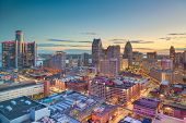 Detroit, Michigan, USA downtown skyline from above at dusk. poster