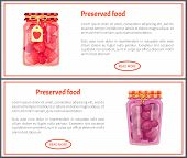 Preserved Food Banners With Fruit Or Berry In Jars. Cherry And Peach Jam, Homemade Canned Products W poster