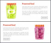 Preserved Food Banners Set With Olives And Plum In Jars. Fruits Or Vegetables Inside Containers, Swe poster